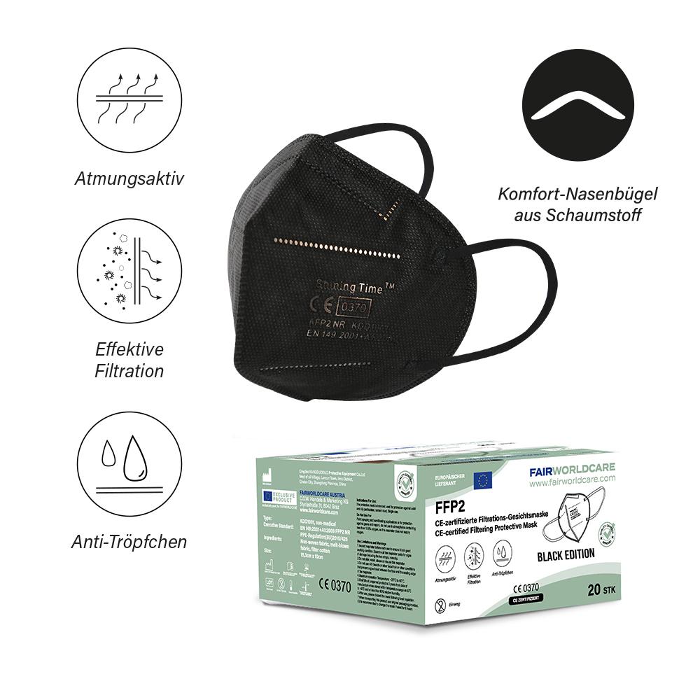 BLACK EDITION: FFP2 Atemschutzmasken, CE zertifiziert in der EU, 20 Stück Packung